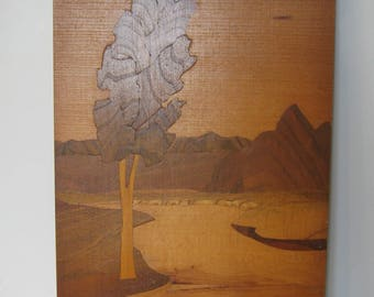 Vintage Soviet Wooden Picture on a Wall. It is Varnished.