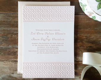 Letterpress Wedding Invitations, Vintage, Traditional, Formal, Esme sample