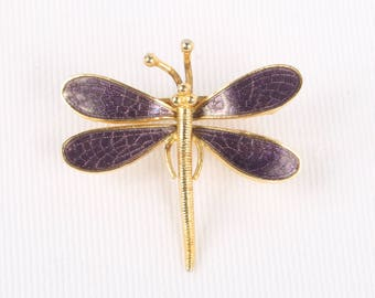 "1970's Purple Enamel and Gold tone Dragonfly Pin Brooch, Excellent Cond., 1-3/8"" X 1-3/8""."