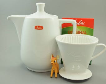 XXL Melitta coffee pot coffee jug and coffee filter, 103, Mid Century Germany, retro Kitchen, white, for 16 coffee cups