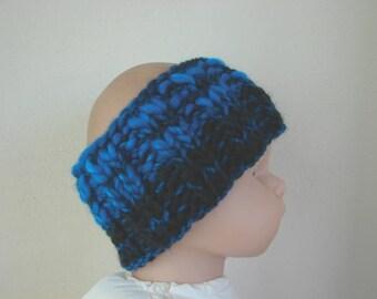 Chunky ear warmer blue black kids head warmer size 2 - 5 yrs warm hand knit headband toddler no seams boy girl warm comfortable accessory