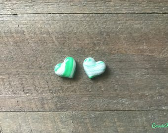 Green Candy Cane Heart Earring Studs