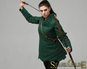 Larp Medieval Fantasy woman gambeson for female armor (2 layers) Elven gambeson