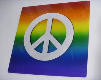 Gay Pride Rainbow Sign, lgbtq sign, lgbt sign, PRIDE metal sign, EQUALITY sign, gay pride sign, Pride peace sign, Rainbow peace sign
