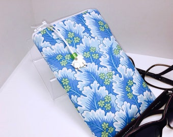 Sky Blue Double Eyeglasses Case, Zip Top Double Glasses Pouch Sunglasses Pouch, Eyeglasses Zipper Case, Soft Glasses Case