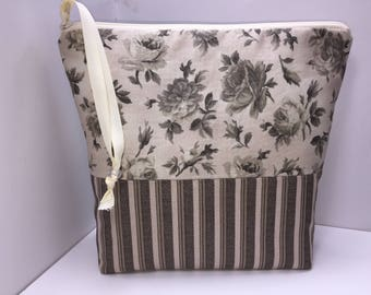 Taupe Large Project Bag, Wet Bag, Cosmetics Case, Waterproof Bag, Tall Zipper Pouch