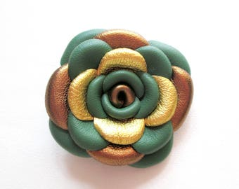 Golden Green Leather Rose Leather Brooch Leather Flower Brooch For Woman Gift Idea For Her Leather Jewelry