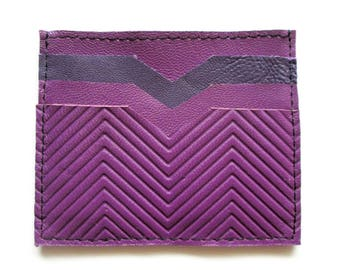 Purple Leather Wallet Credit Card Wallet Card Wallet Credit Card Case Gift Idea
