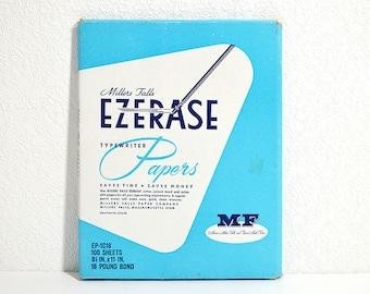 Ezerase Typewriter Paper- Vintage Miller Falls Erasable Typing Paper, 100 Sheets, Onionskin