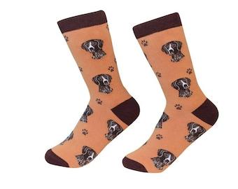 German Shorthaired Pointer Socks - 200 Needle Count - Cotton Socks  - Size Women's (5-11)  Men's( 6-10)