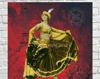 On Sale- Dancer French Ephemera Vintage Original Belly Dancer Gypsy Printable Digital Collage  Altered Art Scrapbook Page Vintage Instant Do