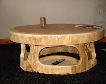 Tree table with small shelf