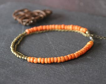 Ethnic boho Bohemian MULTISTRAND beads heishi coconut orange and bronze metal beads, braided chain bronze ankle bracelet