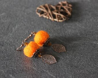 Earrings orange felted wool, faceted glass beads, copper leaf charm