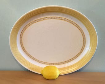 Sweet vintage Franciscan Earthenware Hacienda Gold Aztec design oval serving platter / plate in tropical cream and yellow ceramic!