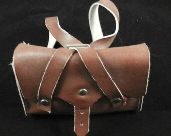 """vintage real leather schoolbag for Dolls and Bears 3.6"""" x 2.8"""""""