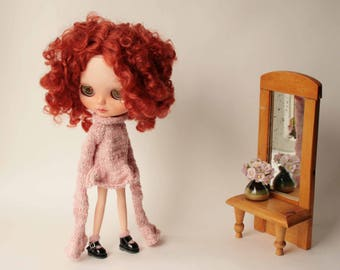 Blythe dress, Rose doll dress, Hand knitted blythe dress, Long sleeve dress for Blythe doll, Rose dress for 12 inch doll, Blythe outfit