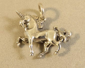 UNICORN 3-D .925 Sterling Silver Charm Pendant New Fairytale Fantasy Mythical Horse Mystical my22