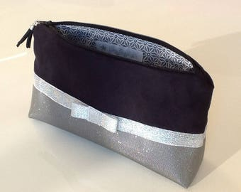 Pencil case pouch makeup, gift for her / black suede and glittery Swarovski grey leatherette and silver braid with knot