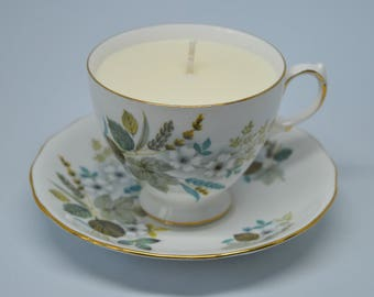 Vintage Teacup Candle **Vanilla Vegan Soy Wax Candle**