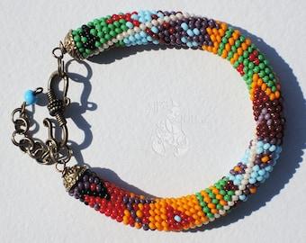 Fall bracelet Elegant Boho Jewelry Gypsy bracelet Colorful bracelet Xmas gift Beaded crochet bracelet Geometric bracelet Ethnic bracelet