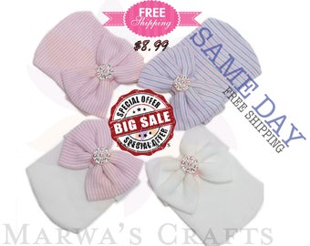 Newborn Hospital Hat Baby Girl Hat with Bow Infant beanie Free shipping Take Home baby hat