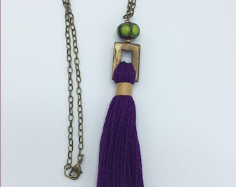 Handmade tassel necklace, OOAK, vibrant purple pearl cotton with lampwork and mother of pearl beads