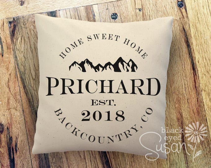 "Personalized ""Home Sweet Home"" Mountain Range Pillow Cover w/ Family Name & Date 