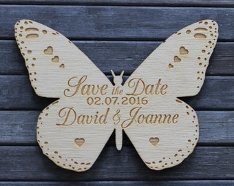 Wooden Engraved Butterfly Shaped Personalised SAVE THE DATE Fridge Magnets