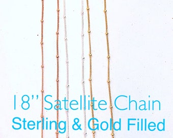 """Delicate Satellite Chains in Sterling and Gold Filled, 18"""" Gold Filled Satellite Chain, Dainty Sterling Satellite Chain, Rose Gold Satellite"""