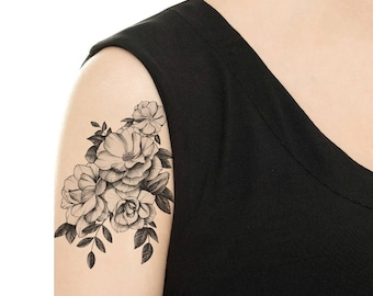 TEMPORARY TATTOO - Vintage Camellia / Cat with Flowers / Dog with Flowers