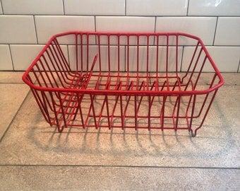 Vintage Red Dish Drainer, Farmhouse Dish Rack, Retro Kitchen Decor, Rubber Coated Strainer