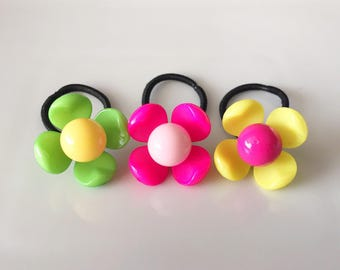 Flower Ponytail Holders / Ponytail / Pigtail / Braids / Hair Ties / Toddler Hair Ties / Hair Tie Set / Hair Accessory / Small Hair Ties