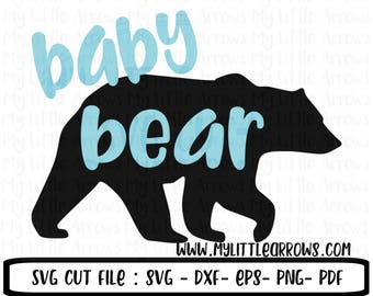 Baby bear SVG, DXF, EPS, png Files for Cutting Machines Cameo Cricut - woodland svg - black bear svg - baby bear printable
