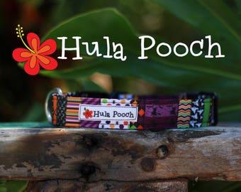 "Halloween Dog Collar ""Patchwork Purple"" - Small, Medium, Large Adjustable // FREE SHIPPING"