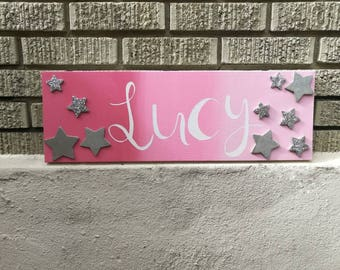 Name Canvas Kids Hand Painted Personalized