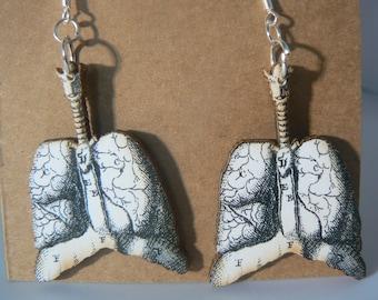 vintage anatomy lungs earrings love medical lasercut woodcut