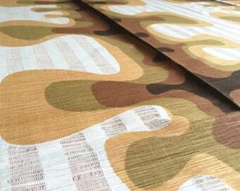German vintage Curtain Fabric 50 x 120 cm Khaki