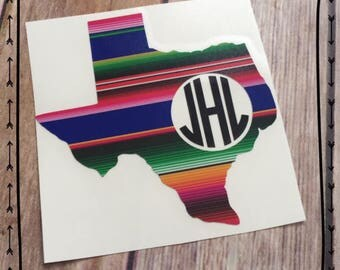 Texas Serape decal | Texas monogram decal | Yeti decal | Yeti monogram | Laptop decal | Texas Car Decal