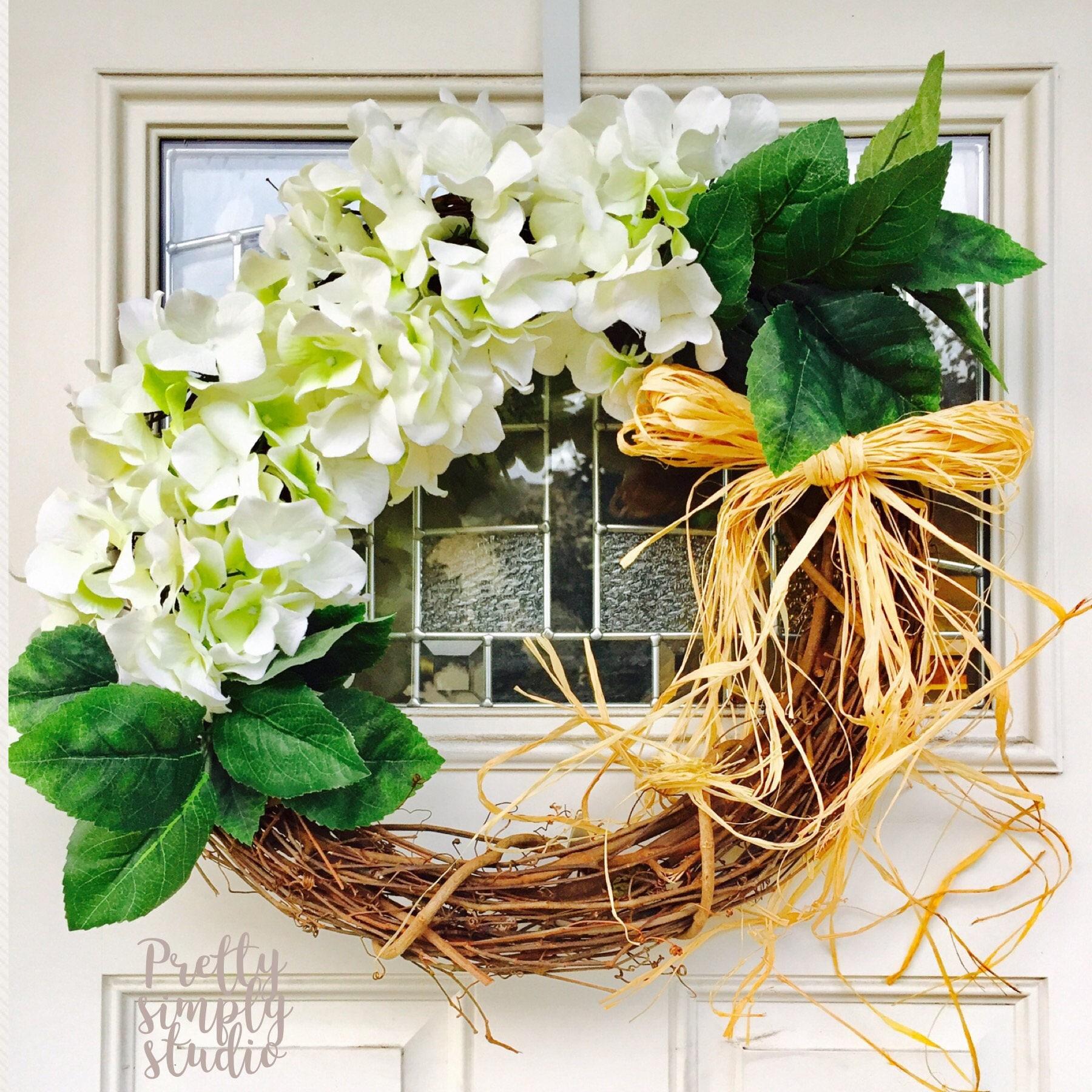White Hydrangea Wreath, Raffia Bow, Farmhouse Wreath, Year Round Wreath,  Front Door