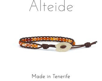 Bracelet Linfa del Drago 1 wave - Alteide - made in Tenerife - surf inspired - 925 Silver - man woman - Red Agate