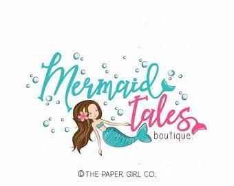 mermaid logo design nautical logo design premade watercolor logo sea logo jewelry logo beach logo design gift shop logo bath and body logo