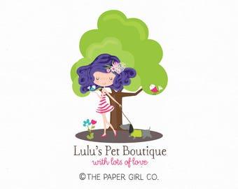 girl logo dog logo bird logo design premade logo design pet shop logo children's shop logo photography logo dog walker logo pet bakery logo