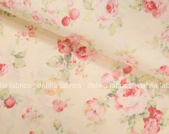Lecien Durham Quilt 2017 Medium Roses and Strawberries Floral Bouquet on Light Yellow Background 31464-11 Japanese Cotton Fabric