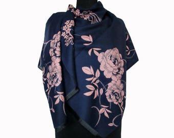 Blue Floral Scarf, Beautiful Blue Shawl, Winter Large Pashmina, Fashion Shawl, Floral Boho Shawl, Women Fall Scarf, Girlfriend Gift