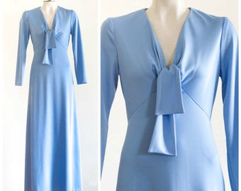 1970s powder blue maxi dress with long sleeves