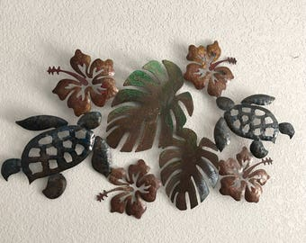 Tropical theme  Flowers  Leaf  Turtles