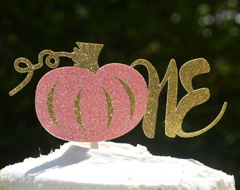 One Pumpkin Cake Topper, Pumpkin Cupcake Toppers,Our Little Pumpkin turns one,Pumpkin Birthday Topper,Cake and cupcake toppers