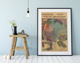 Pacific War Poster| Japan Old Poster| USA old Poster| World War 2 Poster| WWII Poster| WW2 Poster| Pacific Map Print| Wall Art Print| OVP008