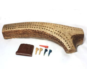 Antler Cribbage Board, Carved Pegs, 1940s, Montana Souvenir, Vintage Game